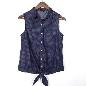 The Limited Polka Dot Denim Button Up Blouse